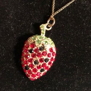 Sarah Coventry strawberry crystal necklace